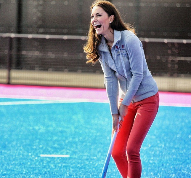 LONDON, ENGLAND - MARCH 15:  Catherine, Duchess of Cambridge plays hockey with the GB hockey teams at the Riverside Arena in the Olympic Park on March 15, 2012 in London, England. The Duchess of Cambridge viewed the Olympic park as well as meeting members of the men's and women's GB Hockey teams.  (Photo by Chris Jackson - WPA Pool /Getty Images)